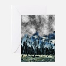 blue mystery forest Greeting Card