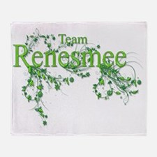 Team Renesmee floral Lime Green Neon Throw Blanket