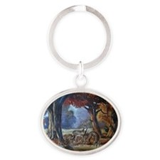 A Drink at the Pond Oval Keychain