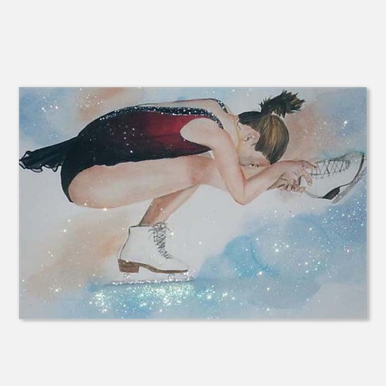 Ice Skater Sit Spin Postcards (Package of 8)