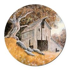 Old Barn Round Car Magnet