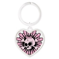 Sweet Pink Skull Heart Keychain