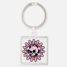Sweet Pink Skull Square Keychain