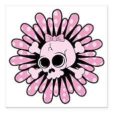 "Sweet Pink Skull Square Car Magnet 3"" x 3"""
