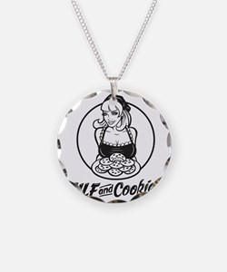 MILF and Cookies Black and W Necklace
