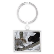 Black Gray Squirrel Landscape Keychain