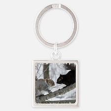 Black Gray Squirrel Square Keychain