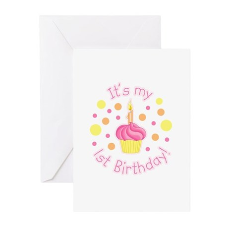 First Birthday Girl Greeting Cards (Pk of 10)