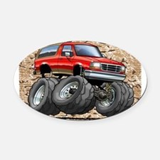 95_Red_EB_Bronco Oval Car Magnet