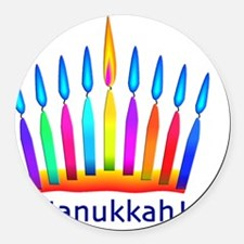 NEON Hanukkah Menorah Bedding Round Car Magnet