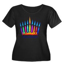 NEON Han Women's Plus Size Dark Scoop Neck T-Shirt