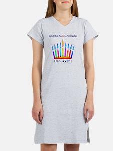 Womens NEON Hanukkah Menorah Fl Women's Nightshirt