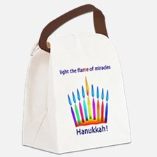 Womens NEON Hanukkah Menorah Flam Canvas Lunch Bag