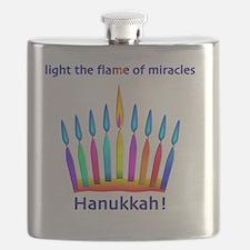 Womens NEON Hanukkah Menorah Flame Flask