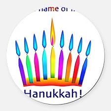 Womens NEON Hanukkah Menorah Flam Round Car Magnet