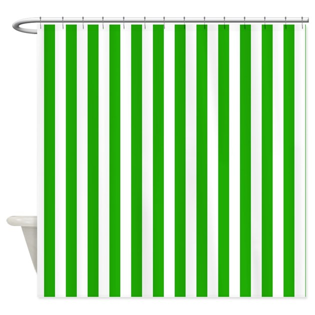 Green And White Stripes Shower Curtain By Graphicallusions