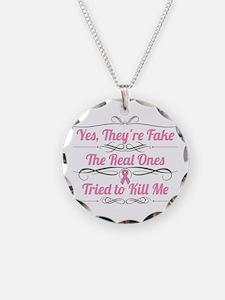 Breast Cancer YesTheyAreFake Necklace