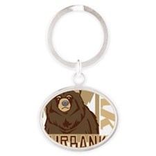 Fairbanks Grumpy Grizzly Oval Keychain