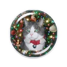"Cat Ornament 3.5"" Button"