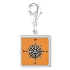 compass-rose5-BUT Silver Square Charm