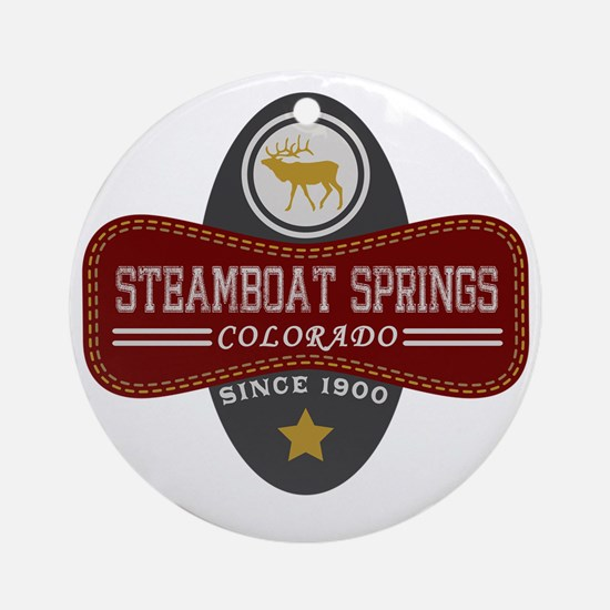 Steamboat Springs Natural Marquis Round Ornament