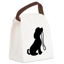 Dog and Leash Canvas Lunch Bag