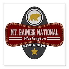 "Mt. Rainier Natural Marq Square Car Magnet 3"" x 3"""