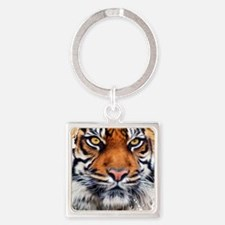 Male Siberian Tiger Square Keychain
