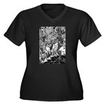 MythMeet Women's Plus Size V-Neck Dark T-Shirt