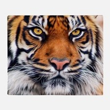 Male Siberian Tiger Throw Blanket