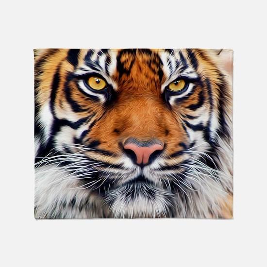 Male Siberian Tiger Throw Blanket