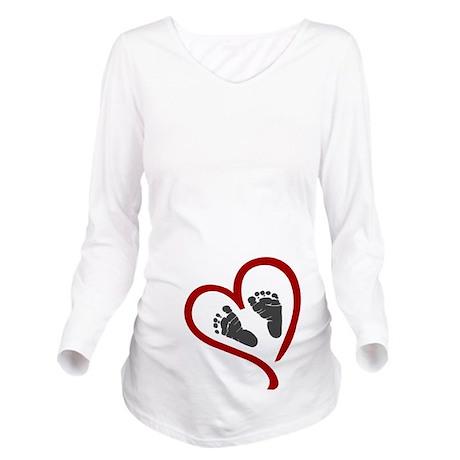 Baby Heart Feet Red Long Sleeve Maternity T-Shirt