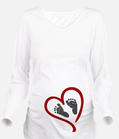 Baby Heart Feet Red Long Sleeve Maternity T-Shirt