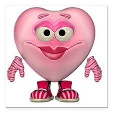 "Cute Miss Pink Heart Square Car Magnet 3"" x 3"""