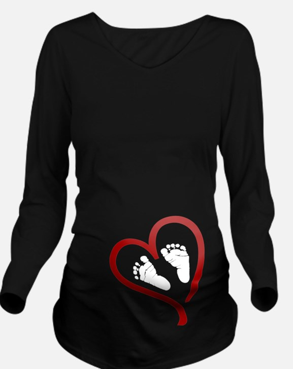 Baby Feet Heart Red Long Sleeve Maternity T-Shirt