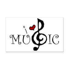 I Love Music Rectangle Car Magnet