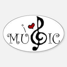 I Love Music Sticker (Oval)