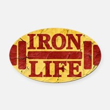 Iron Life Oval Car Magnet