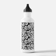 White on Black Damask Water Bottle