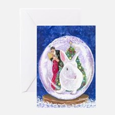 white rabbit christmas cards Greeting Card