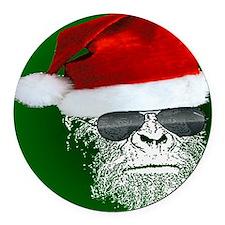 Sasquatch Secret Santa Round Car Magnet