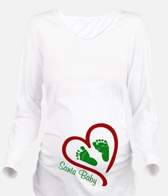 Santa Baby Feet Heart Long Sleeve Maternity T-Shir