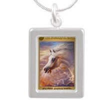 The Conqueror oil painti Silver Portrait Necklace