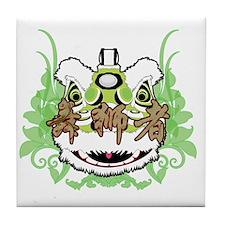 Hok San Lion Green Tile Coaster
