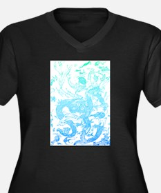 Underwater Aqua on Light Women's Plus Size V-Neck