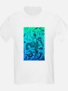 Underwater Black on Aqua T-Shirt