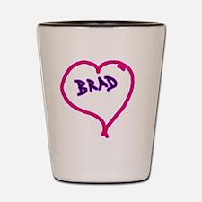 i love brad heart Shot Glass