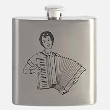 Woman Playing Accordion Flask