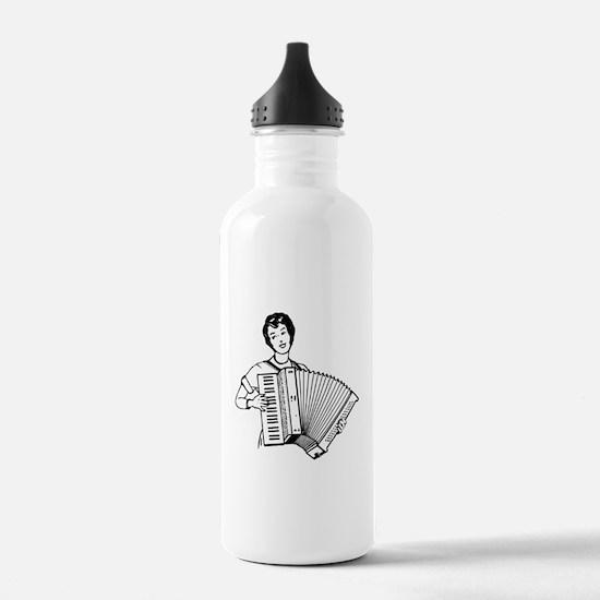 Woman Playing Accordion Water Bottle