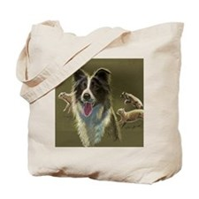Border Collie with Sheep Tote Bag